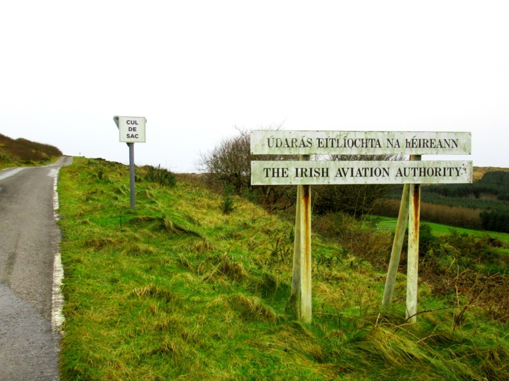 irish aviation authority signboard at road leading up to mount gabriel
